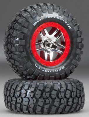 Traxxas 6873R B.F. Goodrich Mud Terrain KM2 Tires Pre-Mounted on Chrome Wheels, Slash 4×4