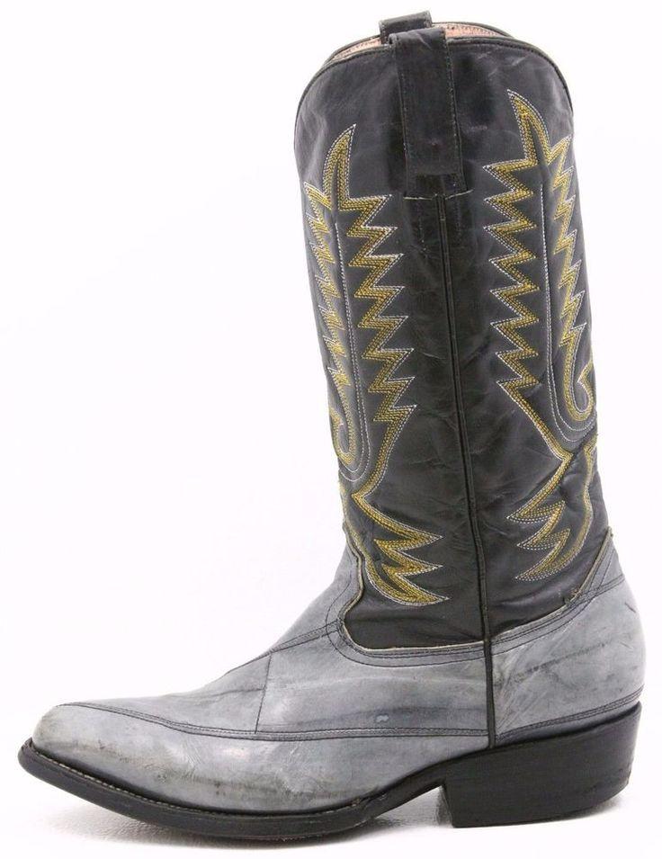 Botas Laredo Mens exotic Cowboy Boots size 7 EEL skin leather western black gray #Laredo #CowboyWestern