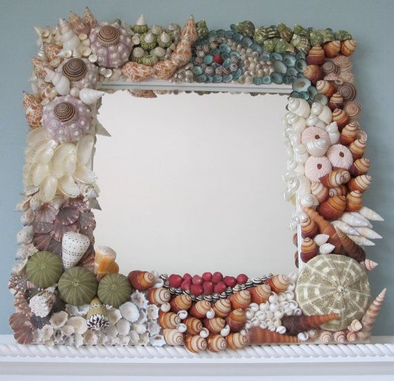 Beach Decor Original Seashell Mirror  by beachgrasscottage on Etsy, $345.00   i think this is interesting
