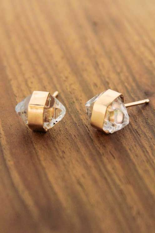 Gold wrapped herkimer diamond stud earrings