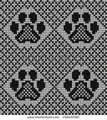 Seamless knitted pattern with cat paws