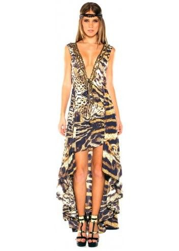 Parides Safari Hi Low Dress in Leopard at Pesca Boutique. Get in touch with your inner exotic goddess in this stunning animal print Parides Safari Dress. - Price: $341.00