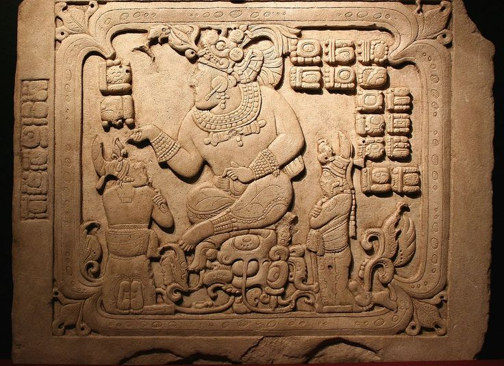 Cancuen, panel 3, seated king with two subordinates. Second half 8th century - Mayan Art