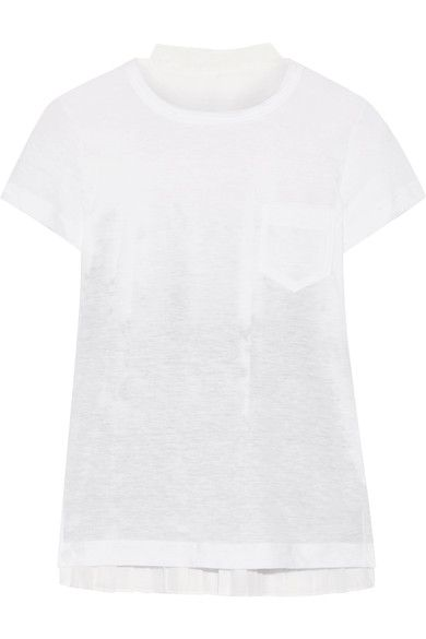 Sacai - Printed Voile And Linen-blend Jersey T-shirt - White - 1