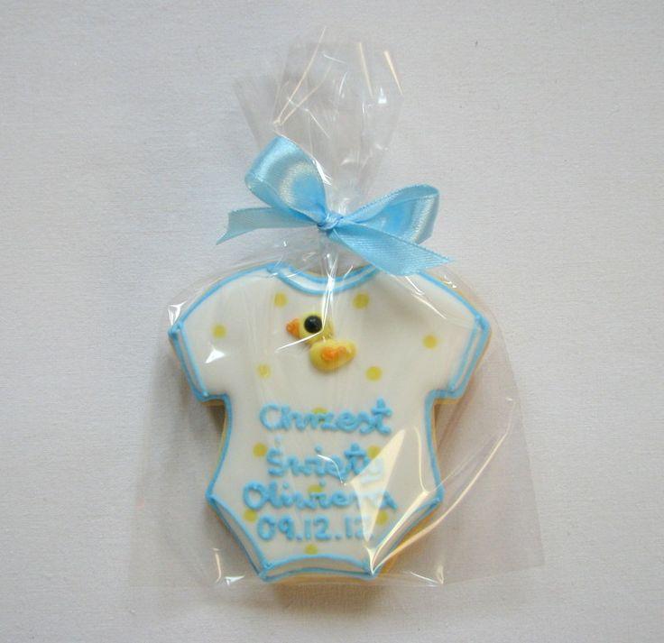 Oliwier's christening cookiec baby boy duck onesie