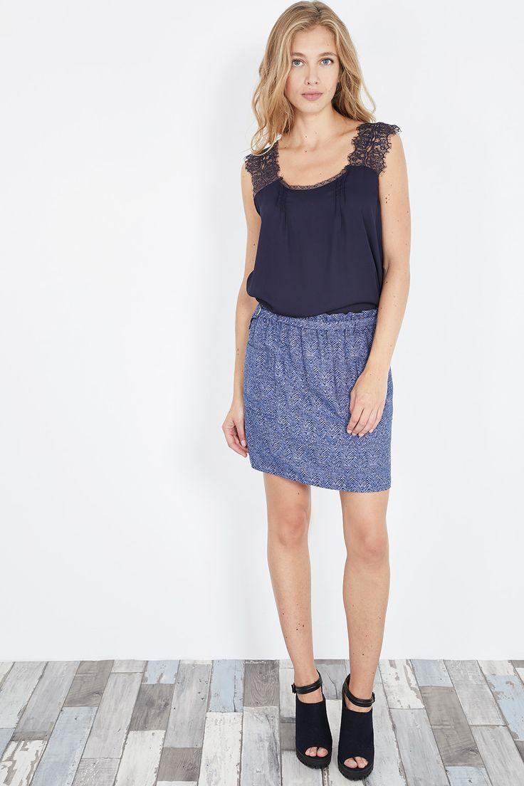 Venda Pepe Jeans / 29887 / Mulher / Tops e camisolas de alças / Top com renda Azul-marinho