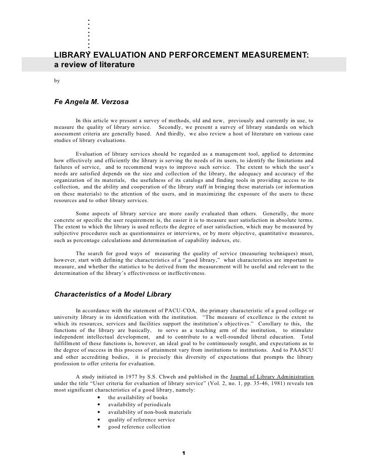.       .       .       .       .       .       .       .       . LIBRARY EVALUATION AND PERFORCEMENT MEASUREMENT: a revie...