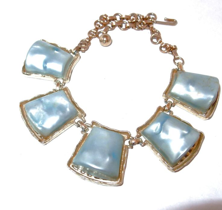 Large Pearlized Blue Thermoset Disc Necklace
