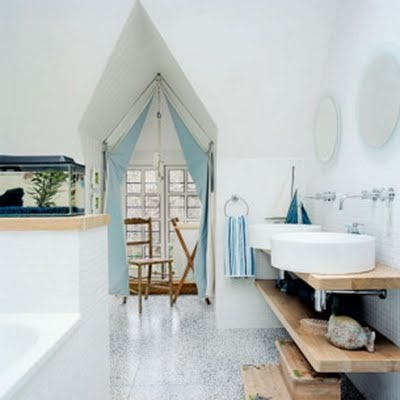 What An Awesome Bathroom Idea I Would Choose A Different Color But Love The Fish Tank Window Ceiling And Wooden Sinkish Area