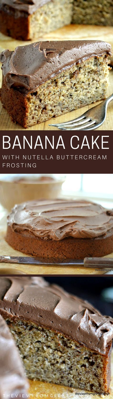 Banana Cake with Nutella Buttercream ~ a fabulously moist banana cake made with toasted hazelnuts and topped with a thick layer of chocolatey hazelnut buttercream ~ oooh la la! #bananabread #nutella #nutellafrosting #chocolate #cake #dessert #buttercream #frosting #snackcake #hazelnut