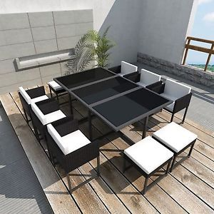 GARDEN RATTAN FURNITURE COMPLETE DINNING SET TABLE-ARMCHAIRS-STOOLS 10 PERSON   eBay