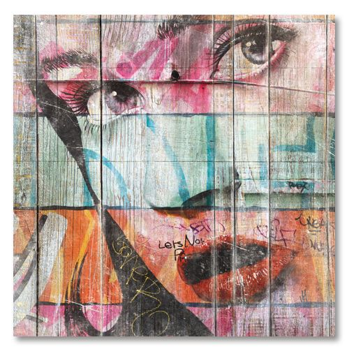Tableau décoratif design street-art femme 60s