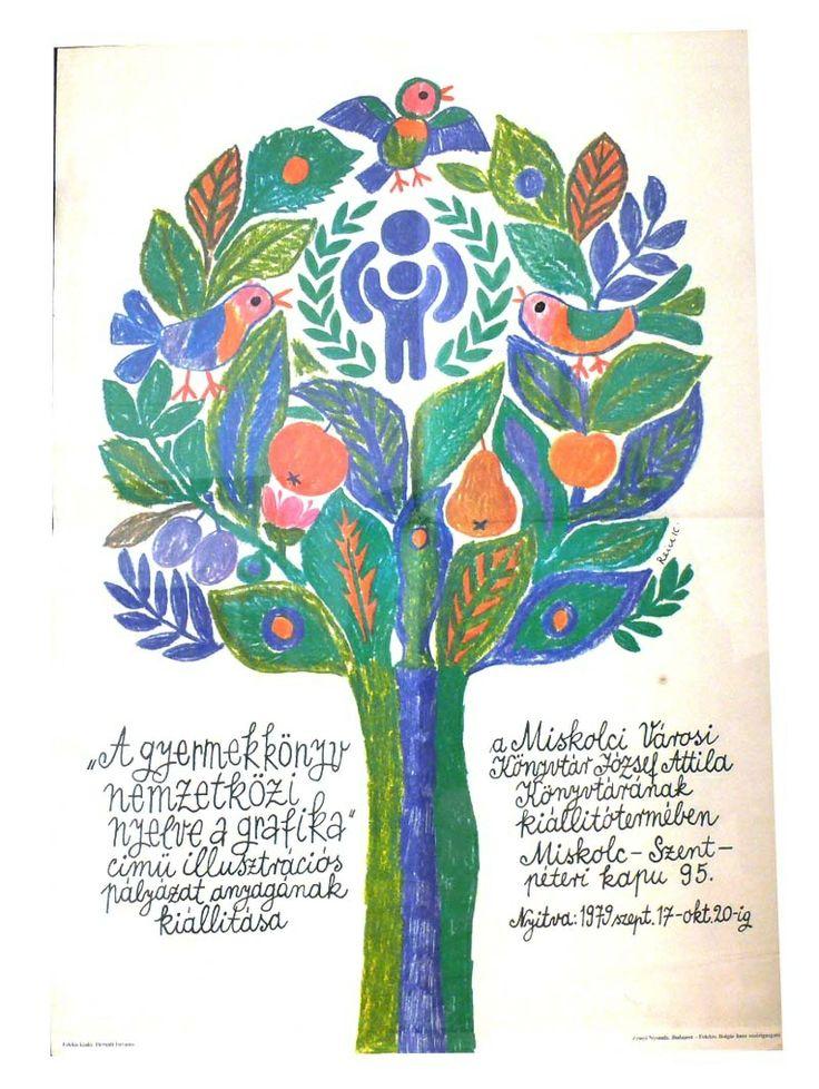 """""""A gyermekkönyv nemzetközi nyelve a grafika"""" című illusztrációs pályázat anyagának kiállítása, Miskolc, 1979. Tervezte Reich Károly. - Múzeum Antikvárium"""