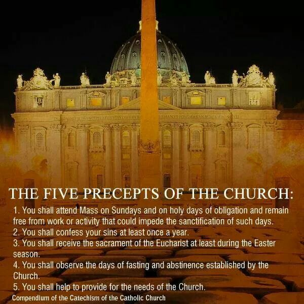 The Five Precepts Of The Church!