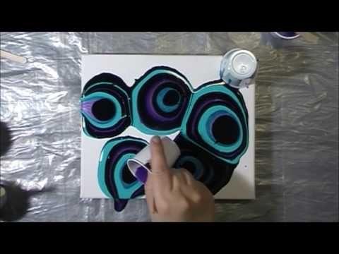 Purple & Turquoise Acrylic Pour #7 - YouTube