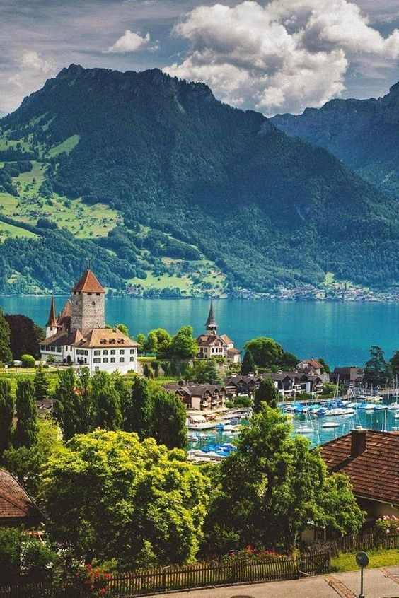The town of Spiez, on the shore of Lake Thun in the Bernese Oberland region of the Swiss canton of Bern.