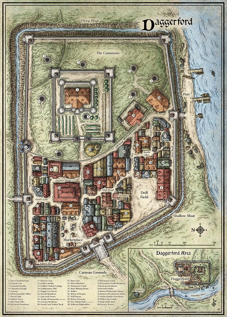 maps map fantasy daggerford town game dungeon