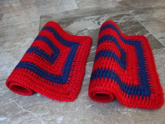 #Vintage Pair #Crochet #Placemats  #Red #Blue  by #VintageHomeStories #Retro #Rustic #Modern #KitchenDecor #Serving #Supplies