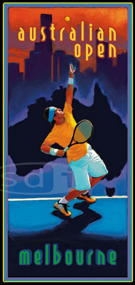 Open d'Australie tennis sports art affiche par ScottDawsonArtPrints...reépinglé par Maurie Daboux ◡ً❤