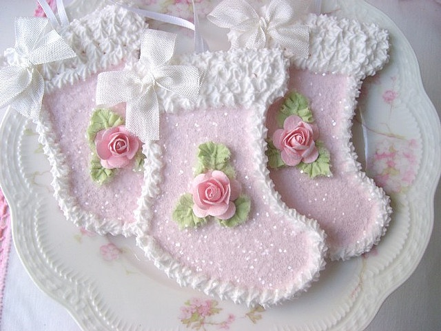 Faux Sugar Cookie Pink Stocking Ornaments