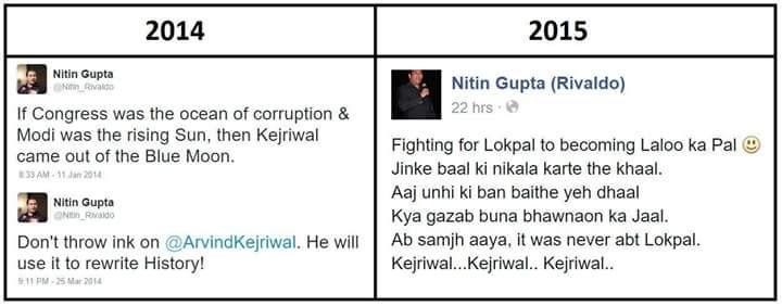This is called Evolution of @ArvindKejriwal sorry AAP supporters....  #बिहार_ठगबंधन  @NitishKumar   viaWA