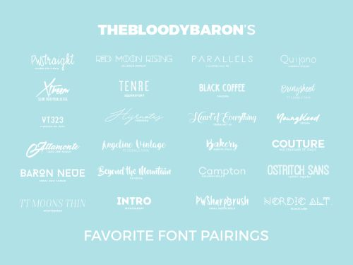 "( favorite font pairings. ) ""PWStraight 