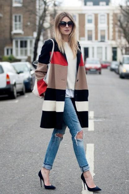 Statement coat + distressed skinnies.