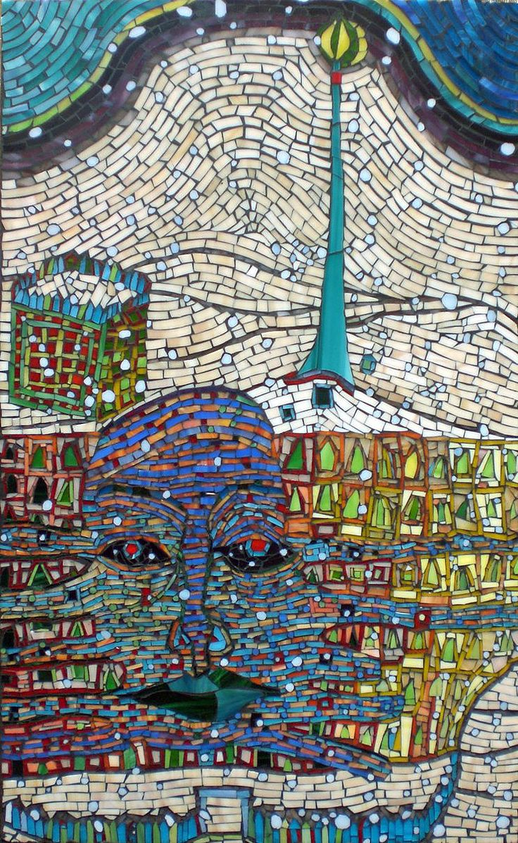 Sold custom made butterfly mosaic table top for mary ann in texas - Hundertwasser Winter Painting Mr Snow Mosaic By Kasia