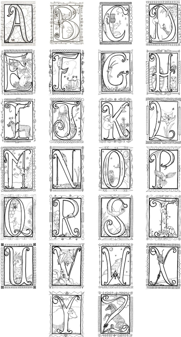 Coloring Pages Illuminated Letters Coloring Pages illuminated alphabet coloring poster pinterest colori