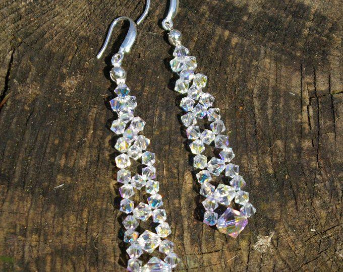 Swarovski Bridal AB Earrings Wedding Crystal Swarovski Earrings Swarovski Clear AB Earrings Bridesmaid Earrings Wedding Beaded Earrings
