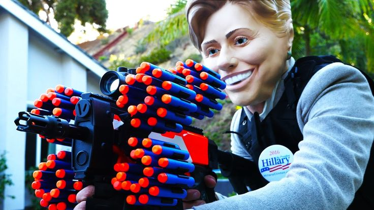 Donald Trump VS Hillary Clinton (Nerf War!) Reblogged from the YouTube user PDK films - link https://www.youtube.com/watch?v=Xhoiu7fcjXE The rights for this video belong to the PDK films and their director Paul Kousky