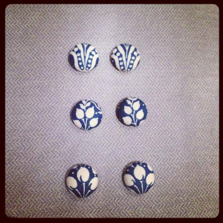 Fabric button earrings 15mm handmade $8