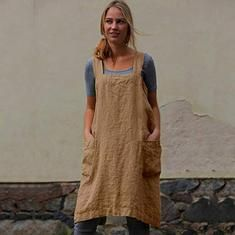 Linen Shoulder Strap Pinafore Mini Dress