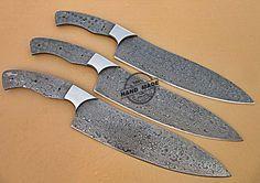 Lot Of 3 PCs Professional Kitchen Knives Blank Blade Set Custom Handmade Damascus Steel Kitchen Knives 1714