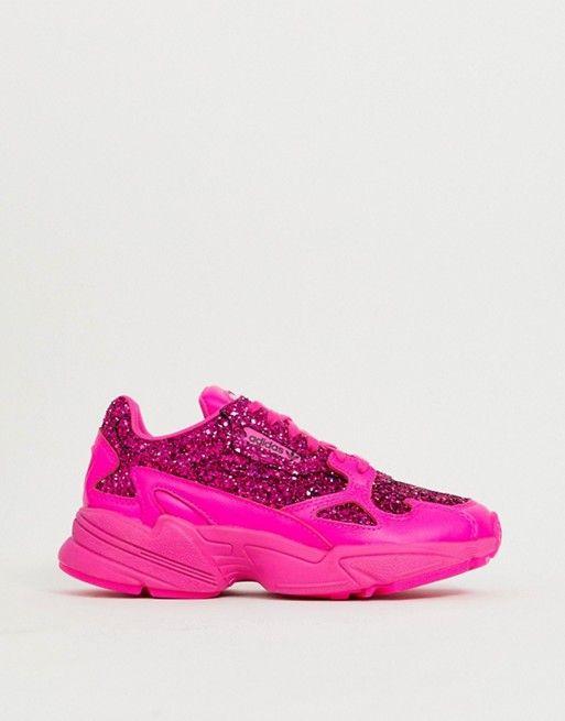 1cccb399a292 adidas Originals | adidas Originals Premium pink glitter Falcon sneakers