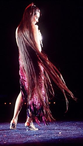 Singer Crystal Gayle and her floor length hair...'Don't it make my brown eyes blue' ;)