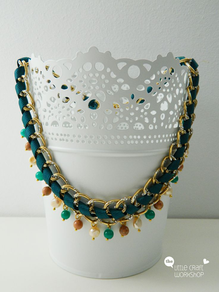 Handmade necklace - chain, ribbon, beads