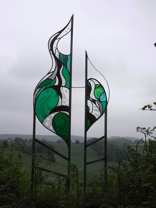 "Garden Glass - ""Rising Waters"" stainless steel sculpture"
