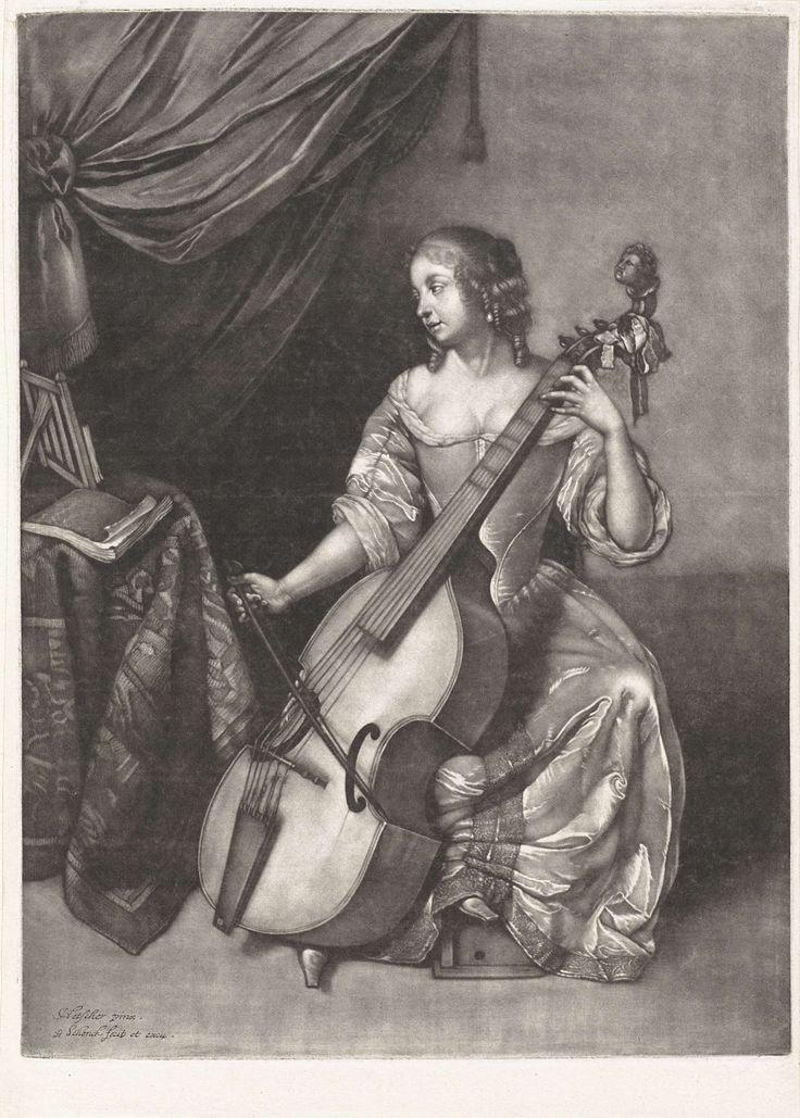 Vrouw bespeelt een viola da gamba, Pieter Schenk (I), 1670 - 1713