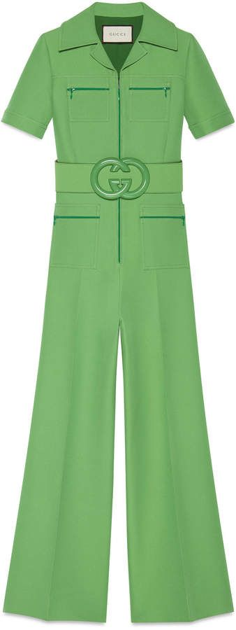 Wool silk belted jumpsuit #gucci #jumpsuits