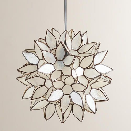 New Spring Collection featuring Small Capiz Lotus Hanging Pendant Lantern  >> #WorldMarket Home Decor Ideas, Lighting