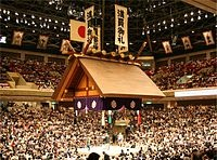 "Ryōgoku Kokugikan in Tokyo ""is mainly used for sumo wrestling tournaments (honbasho) and hosts the hatsu (new year) basho in January, the natsu (summer) basho in May, and the aki (autumn) basho in September. It also houses a museum about sumo."" -wikipedia"