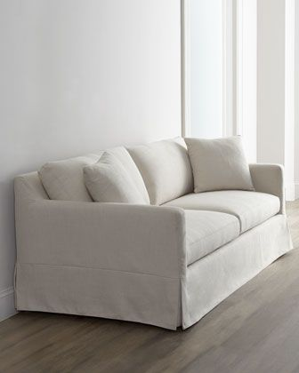 """Annalise"" Sofa - Horchow CBW-I like this sofa…would prefer wider arms. Like the little bit slouchy, yet structured look. Fabric needs to be SOFT, but might not be since it's a poly/linen blend."