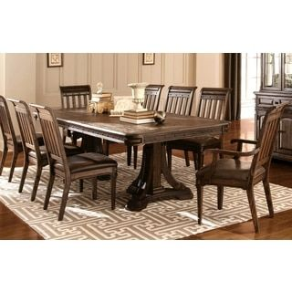 Shop For Empress Inspired Grand Rustic Espresso Dining Set With Metal Accents Get Free Delivery