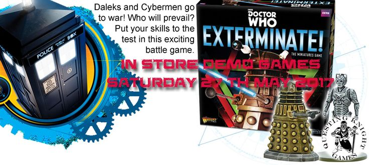 Facebook banner for our Dr Who miniatures game EXTERMINATE launch event with instore demo games