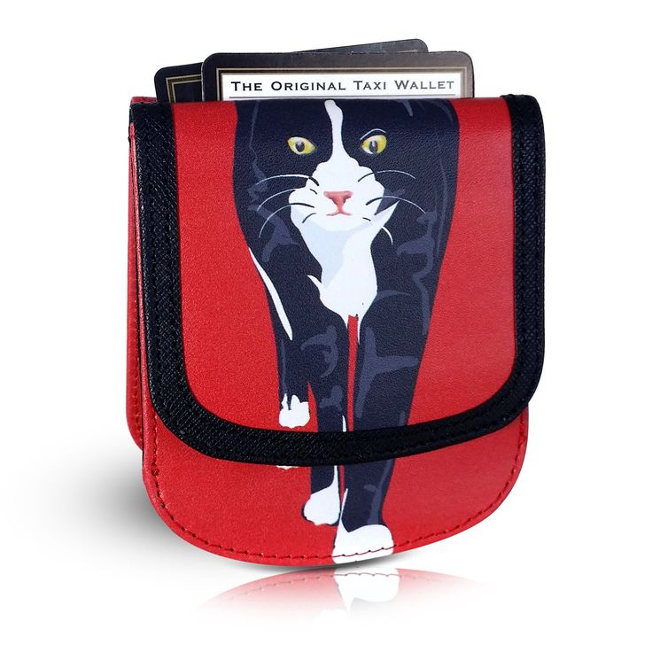 SID THE CAT Small Folding RFID Vegan Leather Minimalist Card Wallet by TAXI WALLET® for Women Coin Purse