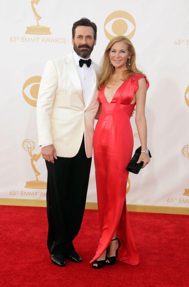 Jon Hamm and girlfriend Jennifer Westfeldt #Emmys #STYLAMERICAN