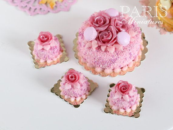 Pink Rose Pastry Round 12th Scale Miniature by ParisMiniatures