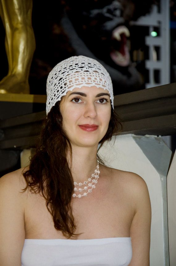 Ladies Crochet Hat White Summer Crochet Beanie For Women