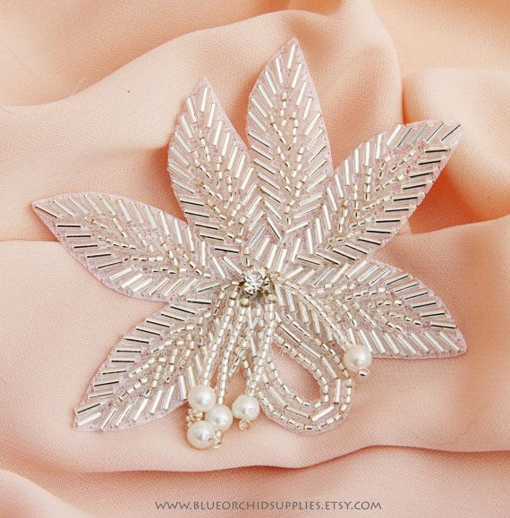 Rhinestone Applique, Crystal Applique, Beaded Applique - Sashes Fascinators Headbands Apparel Wedding Bridal - Beaded Leaf Pearl Dangle
